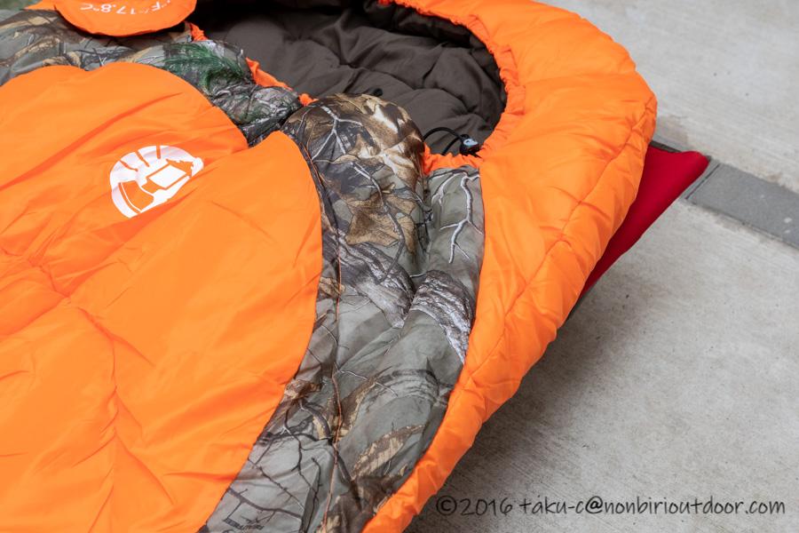 コストコ寝袋のコールマンRealtree Xtra Camo MUMMY SLEEPING BAGのリアルツリー