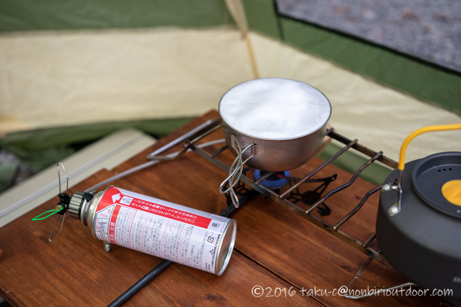 赤城オートキャンプ場でお昼の準備