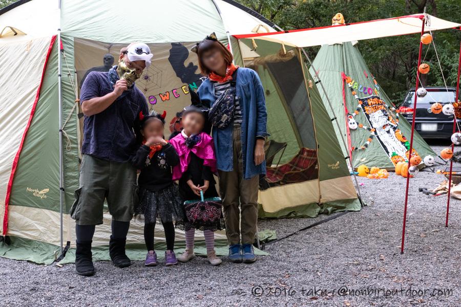赤城オートキャンプ場でハロウィンキャンプの記念撮影
