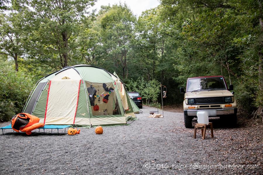 赤城オートキャンプ場のハロウィンキャンプ朝の風景