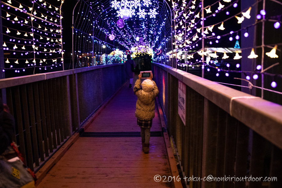 宮ヶ瀬湖イルミネーションのつり橋を撮る