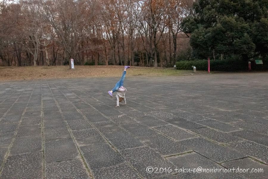 県立相模原公園で側転の練習