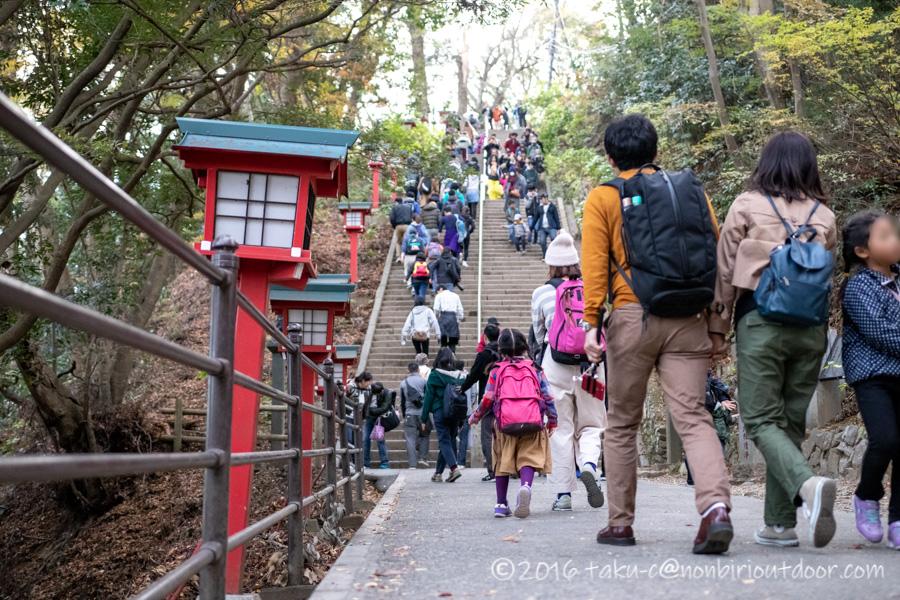 高尾山ハイキングの登り