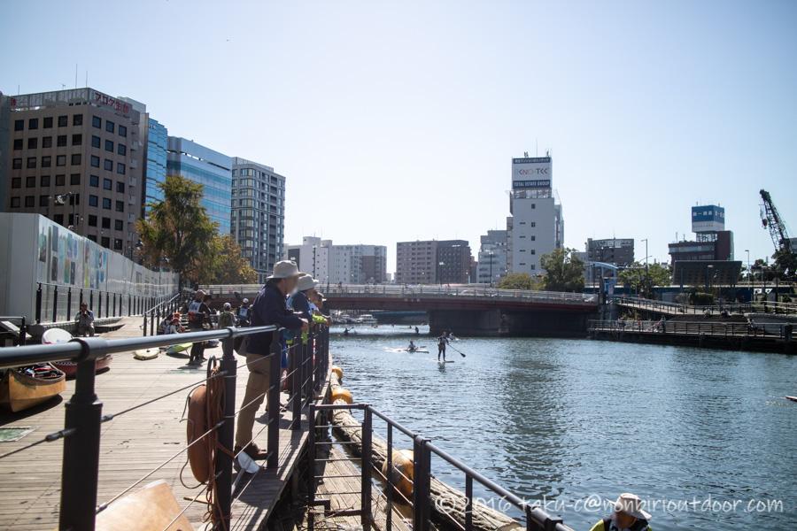第37回横浜縦断カヌーフェスティバルのゴール地点
