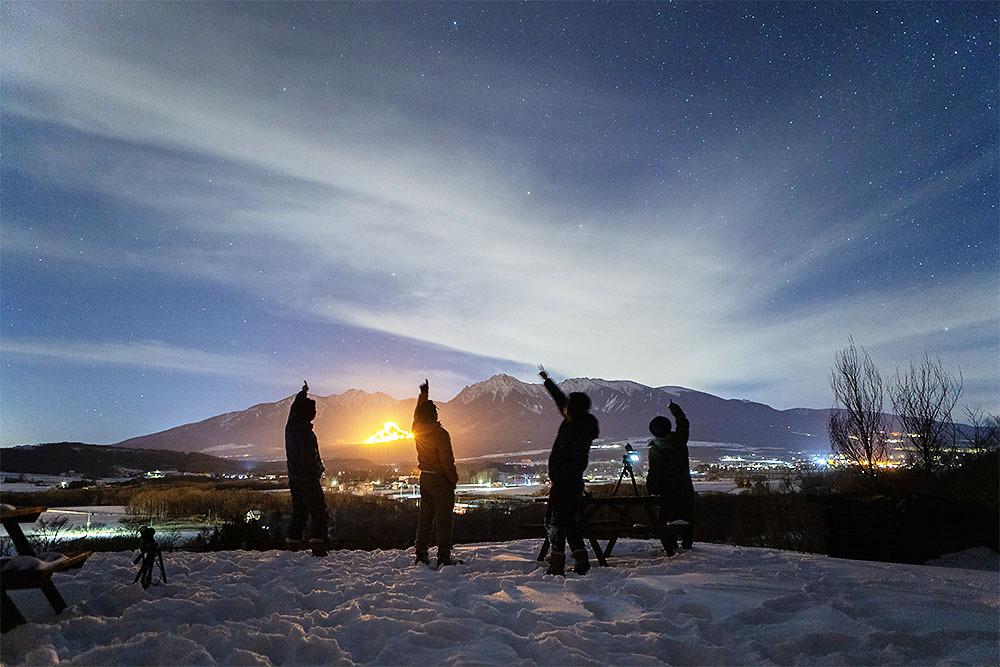 五光牧場オートキャンプ場で雪中キャンプの自撮り