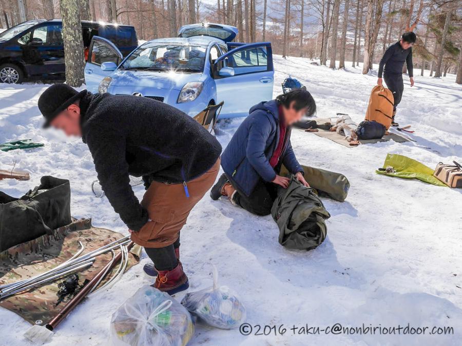五光牧場オートキャンプ場で雪中キャンプの撤収後