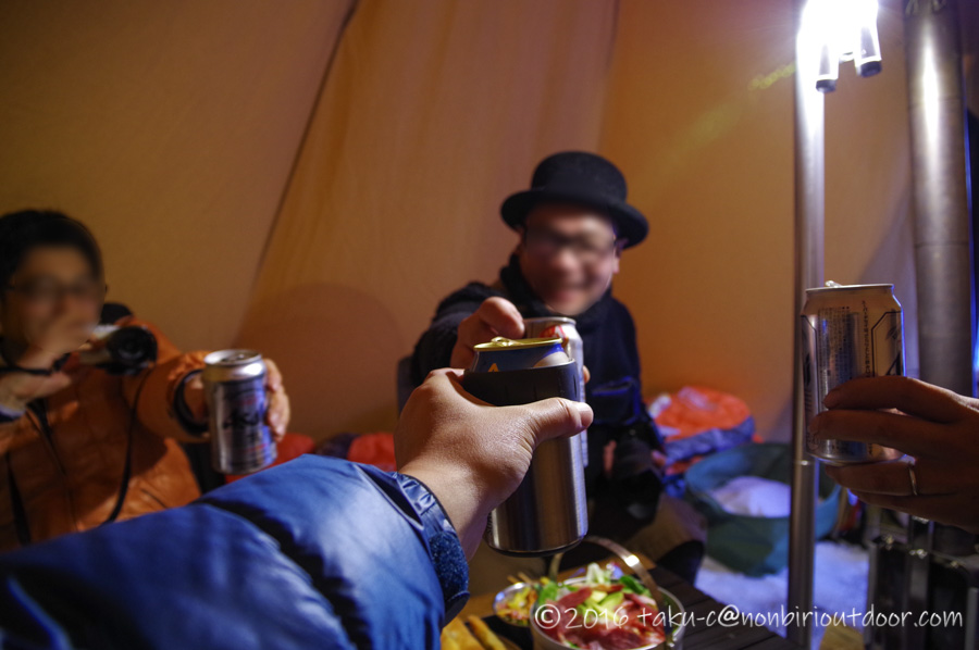 五光牧場オートキャンプ場で雪中キャンプの宴