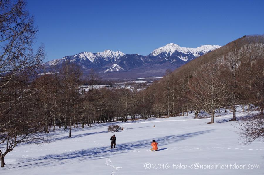 五光牧場オートキャンプ場で雪中キャンプの散策