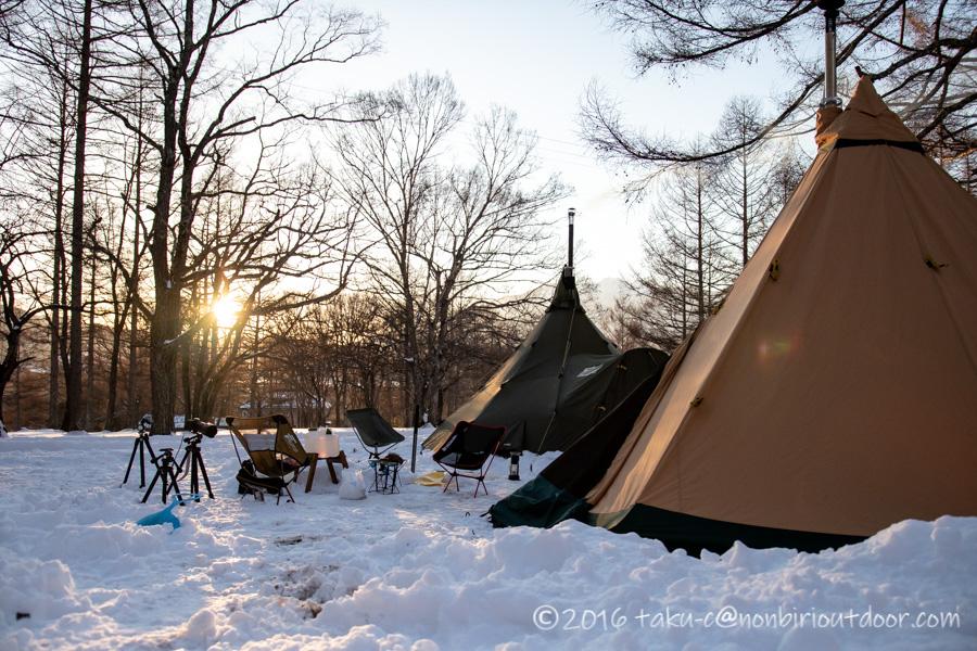 五光牧場オートキャンプ場で雪中キャンプの夕日