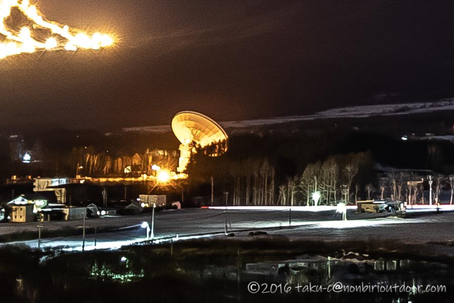 五光牧場オートキャンプ場からの電波望遠鏡の景色
