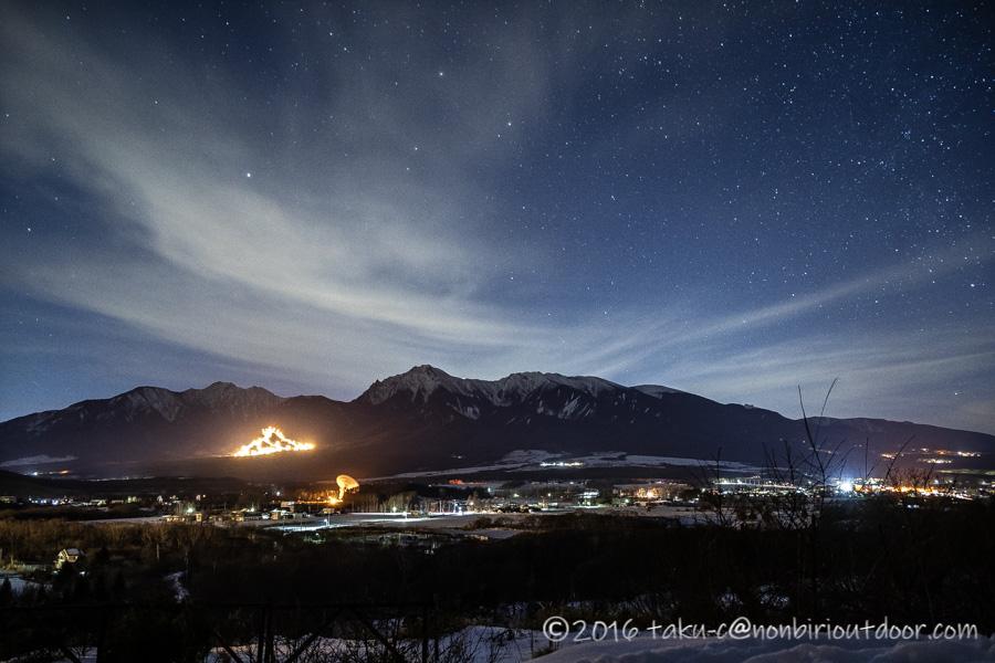 五光牧場オートキャンプ場で雪中キャンプの星空