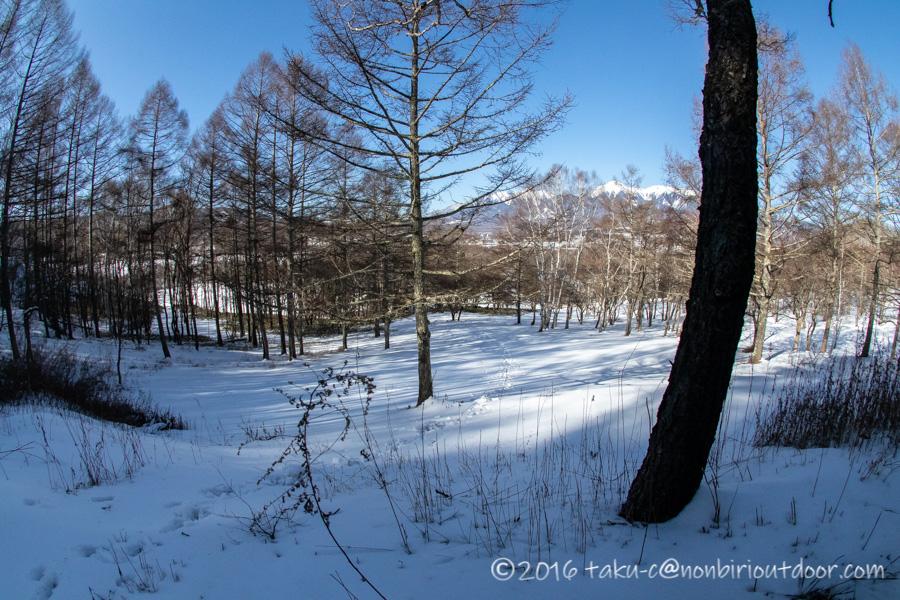 五光牧場オートキャンプ場で雪中キャンプの朝の散策で展望台へ