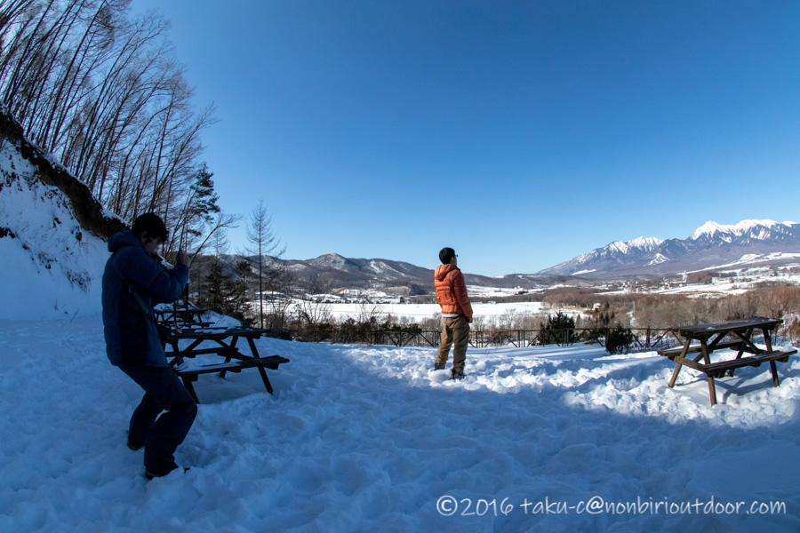 五光牧場オートキャンプ場からの冬の八ヶ岳