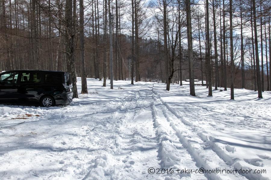 五光牧場オートキャンプ場で雪中キャンプの帰り道