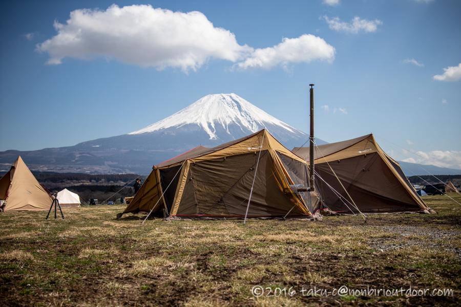 ふもとっぱらでダイヤモンド富士キャンプの設営完了