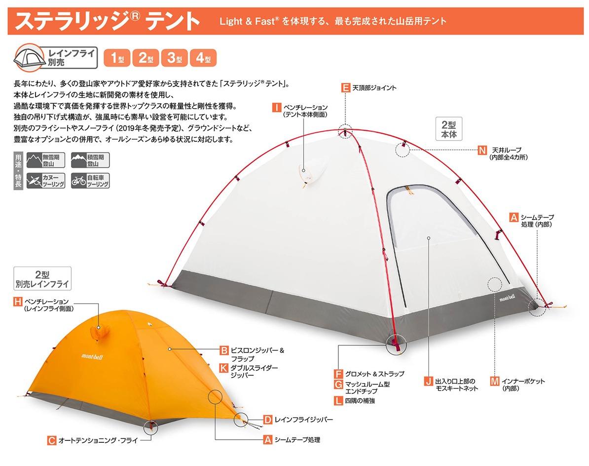 モンベルのテントのステラリッジ3