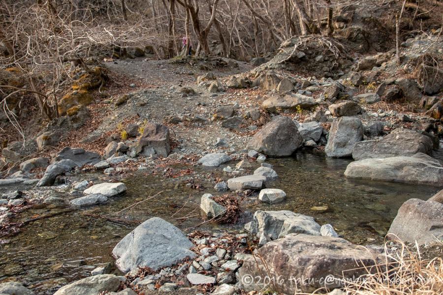 某県某所の野営地の小川