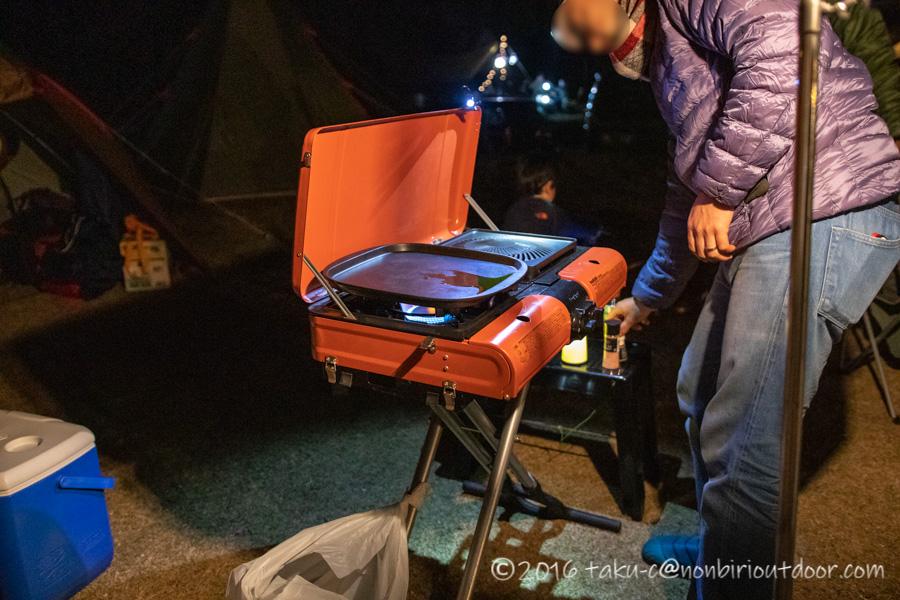 鷲の巣キャンプ場で設営したBBQコンロ