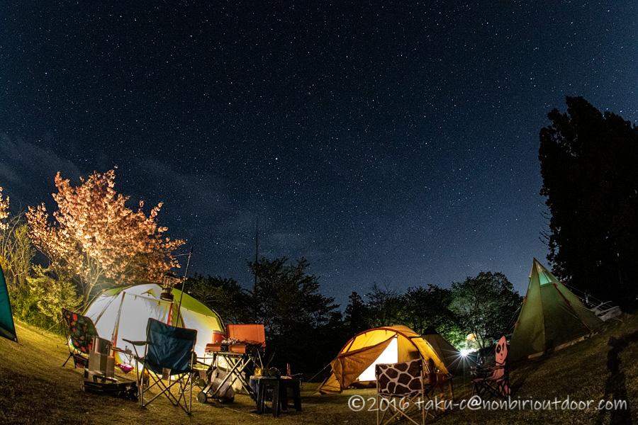 鷲の巣キャンプ場からの星空