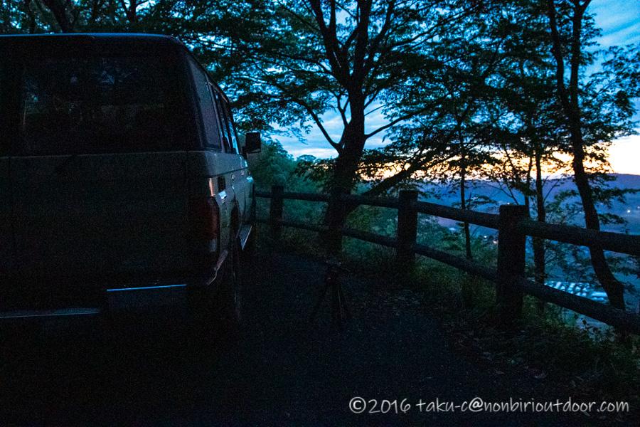 鷲の巣キャンプ場から茂木町の鎌倉山展望台へ朝一で到着