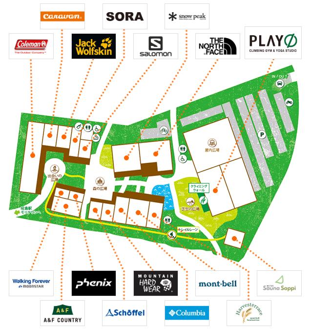 モリパーク アウトドアヴィレッジのフロアーマップ(2019年6月)