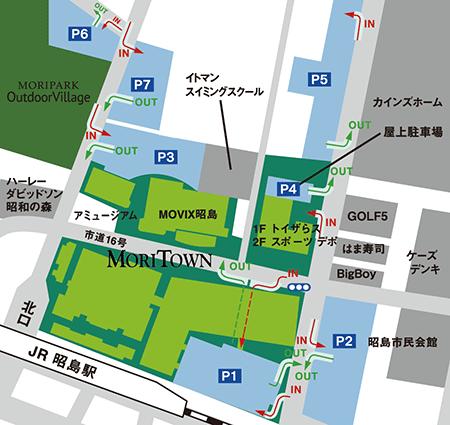 モリパーク アウトドアヴィレッジの駐車場の地図
