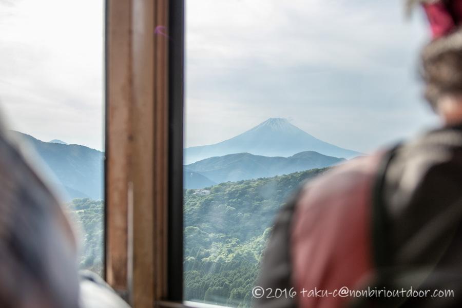 箱根の駒ヶ岳ロープウェイの中