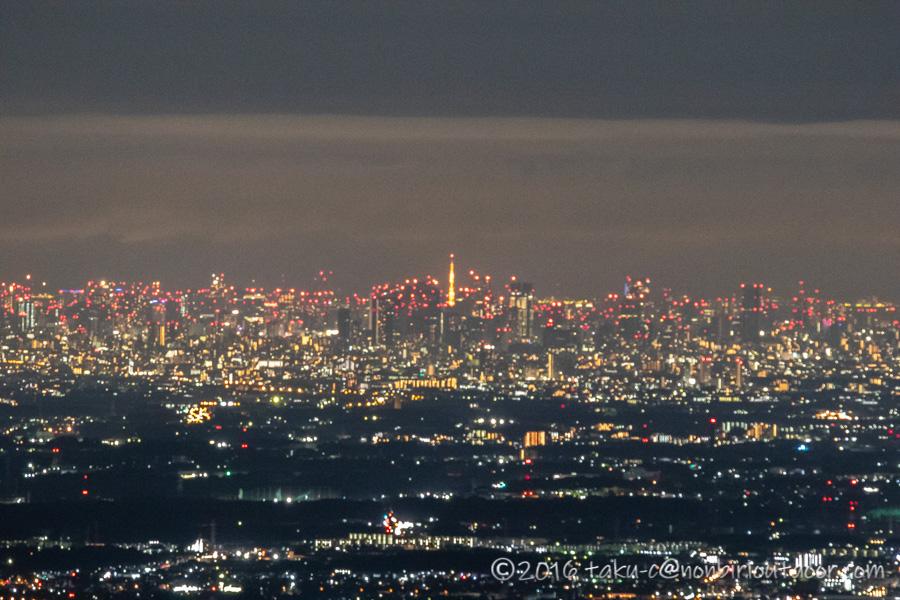 ときがわ町の星と緑の創造センターの堂平山からの東京の夜景の東京タワー