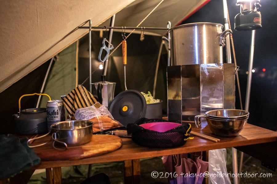 西湖・湖畔キャンプ場で夕飯を作る