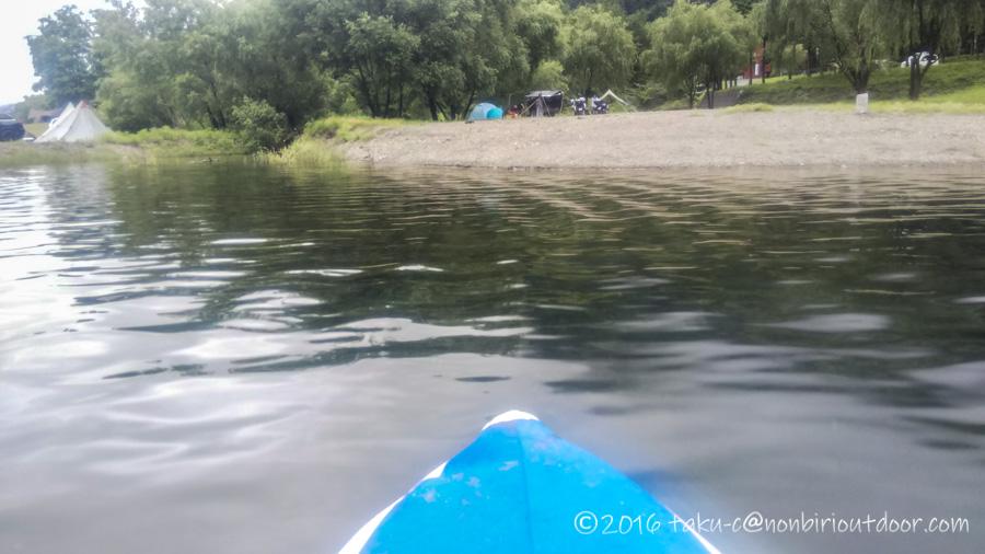 西湖・湖畔キャンプ場から福住キャンプ場までカヤックで移動する