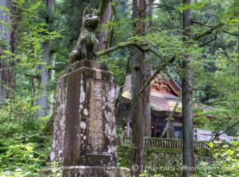 早太郎が眠る光前寺の境内と早太郎の像