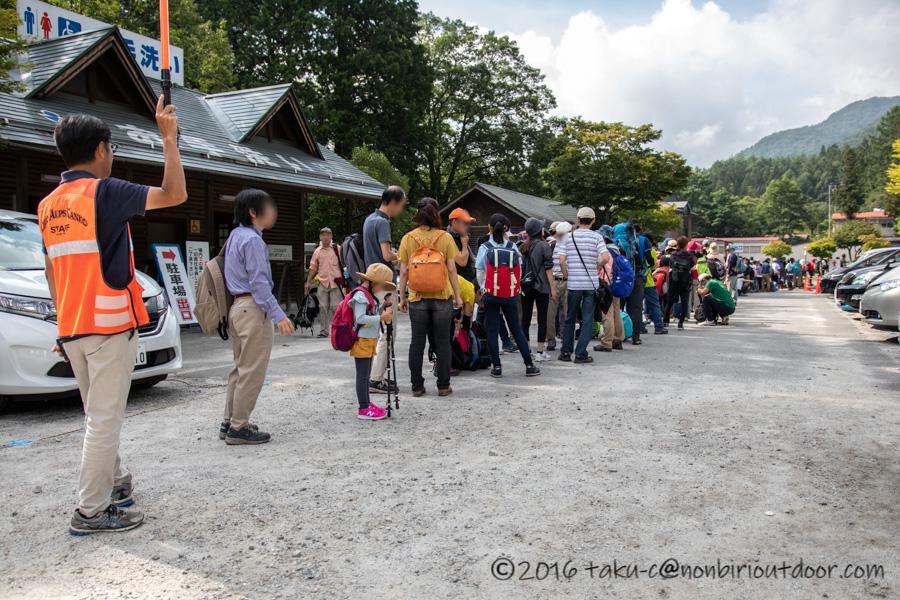 8月の千畳敷カールへ向かうバス待ち行列