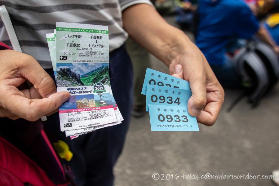 千畳敷カールへ行くための駒ヶ岳ロープウェイの乗車整理券