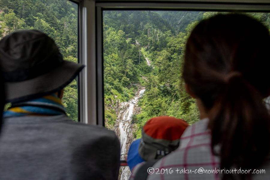 千畳敷カールへ行くための駒ヶ岳ロープウェイからの景色
