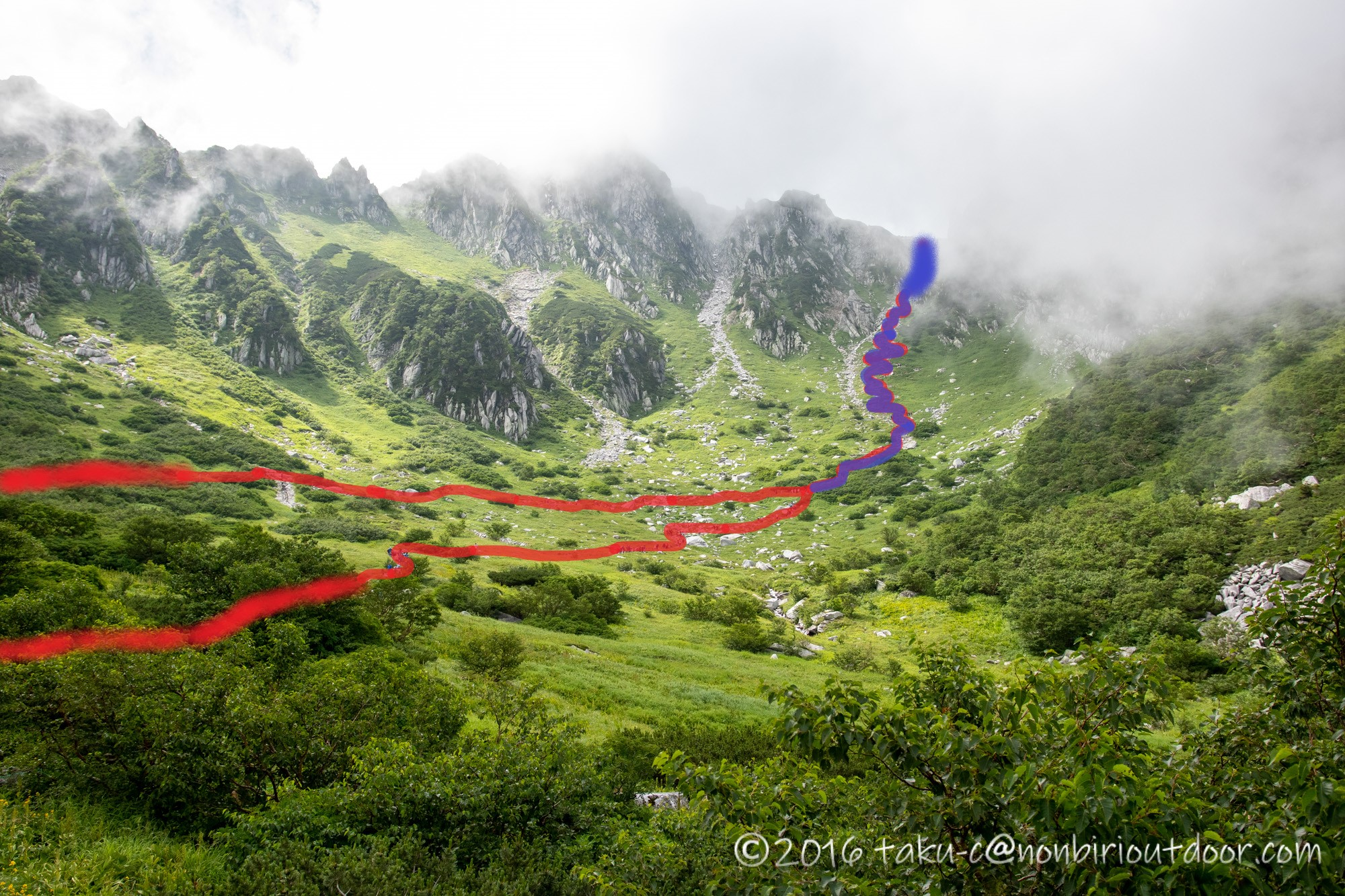 千畳敷カールの全景と遊歩道と登山道