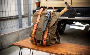 ガストンルーガのクラシックのオリーブ&ブラウンにキャンプ道具を詰め込む