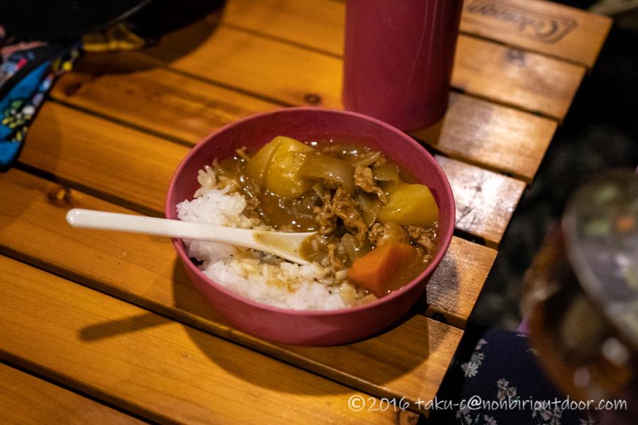 青木湖での夕飯のコカレー