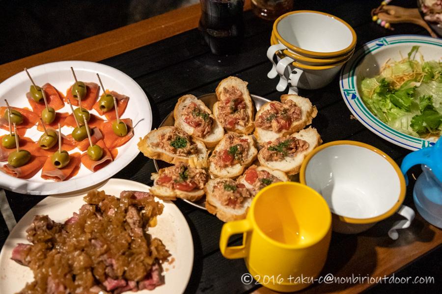 青木湖でのグルキャンの夕飯