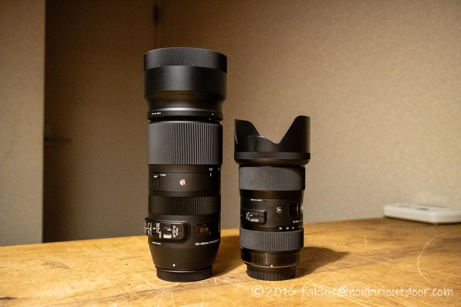 SIGMA 望遠ズームレンズ Contemporary 100-400mm F5-6.3の大きさ比較