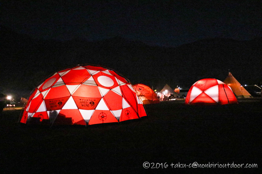 GO OUT CAMP 冬 2019 の夜のサイト風景
