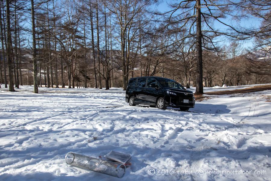 おっさん雪中キャンプをする為に五光牧場オートキャンプのサイトへ来た6さん
