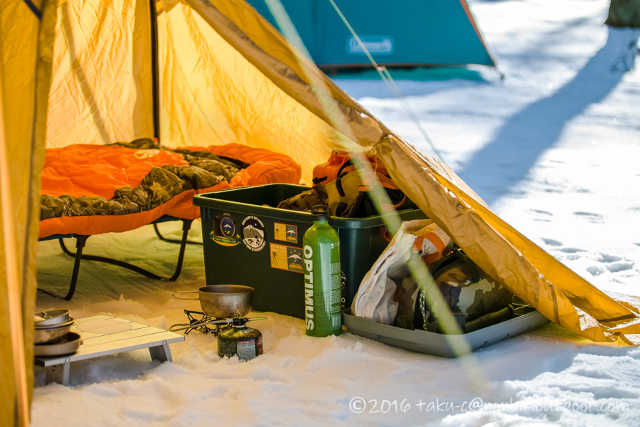 おっさん雪中キャンプのセル2の中の様子