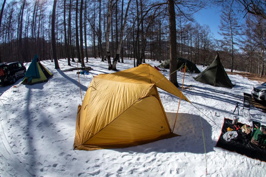 雪中キャンプで色々と試し張りしたスノーピークのセル2