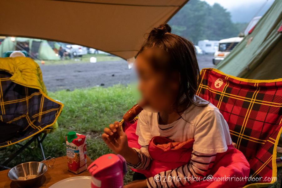本栖湖キャンプ場の夕飯