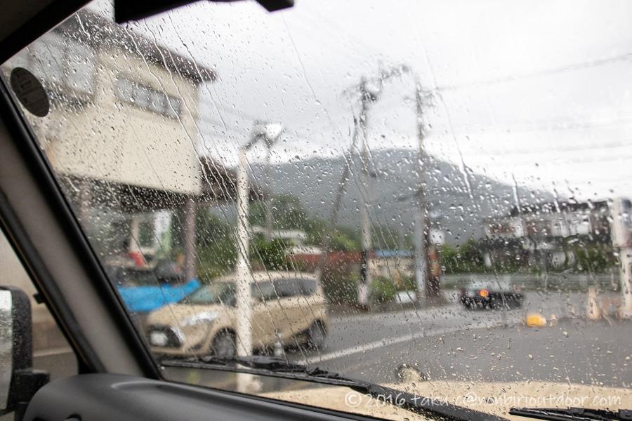 本栖湖キャンプ場の後で雨が降った
