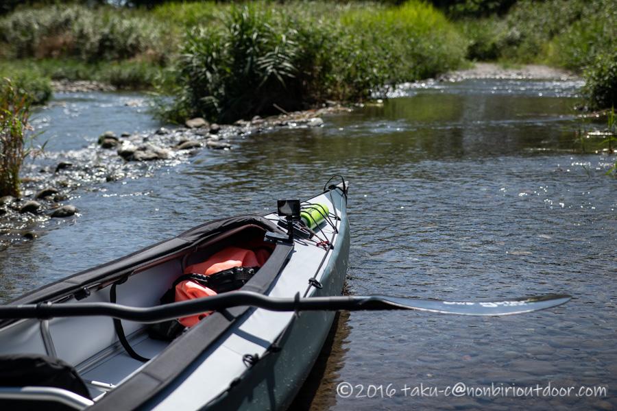 相模川でフジタカヌーのアルピナ460に乗る直前