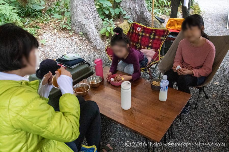 青木湖の青木荘キャンプでのお昼