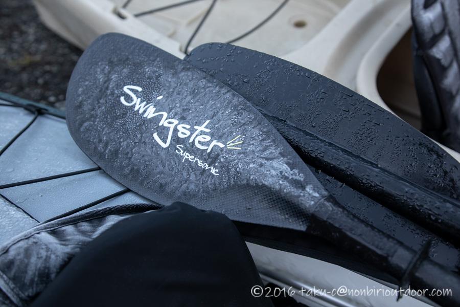 本栖湖で凍ったスウィングスター(SWINGSTAR)のフルカーボンパドルのスーパーソニック(supersonic)