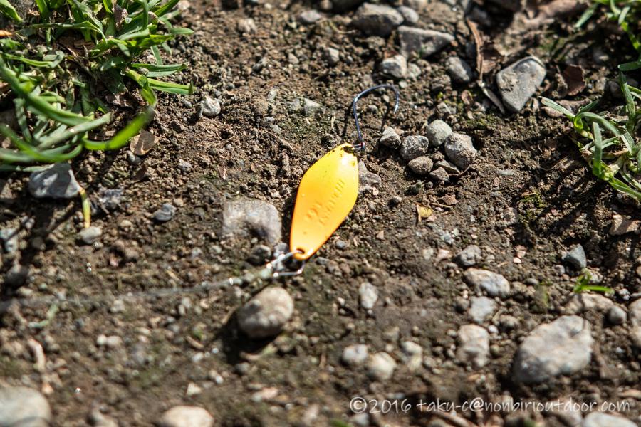 人生初のルアーでの4匹目のマスを釣りあげたルアーはハイバースト1.6g黄色金