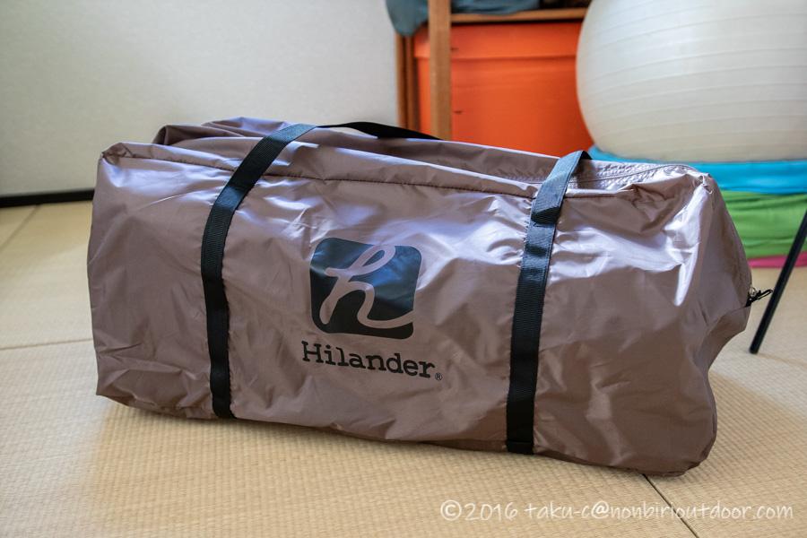 ハイランダー(Hilander)のツーポールテントのグランピアンのバッグはゆとりがある